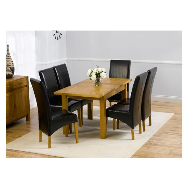 Rustique Oak Small Extending Dining, Small Black Dining Table And 4 Chairs